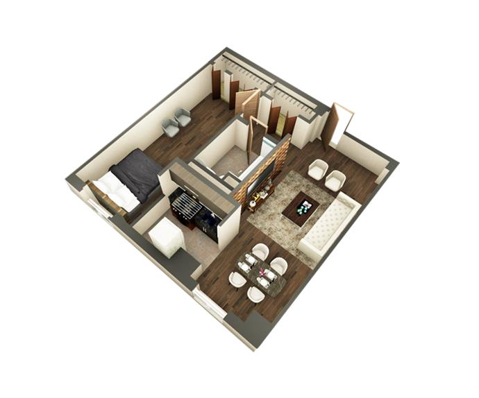 Ritz Condominium One Bedroom Floor Plan